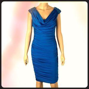 Tadashi Shoji Turquoise Ruched Dress